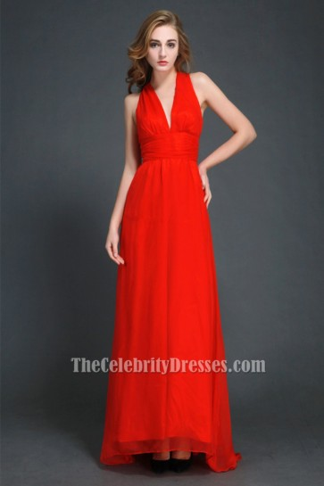 Discount Red Backless Prom Gown Evening Dresses