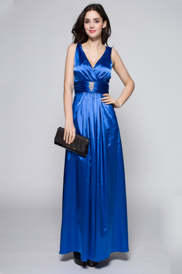 Discount Royal Blue V-neck Evening Gown Prom Dress