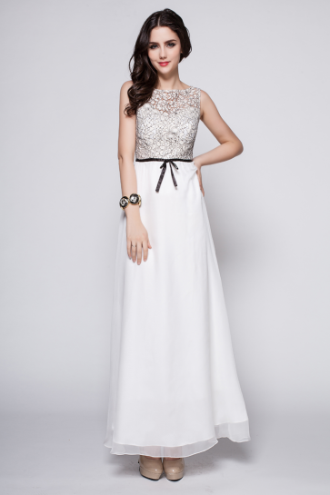 Discount White Sleeveless Prom Gown Evening Dresses