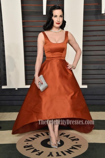 Dita Von Teese 2016 Vanity Fair Oscar Party Cowl Neck Backless Party Prom Gown 1