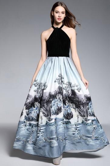 Elegant Floral Halter Ball Gown Printed A-line Dress