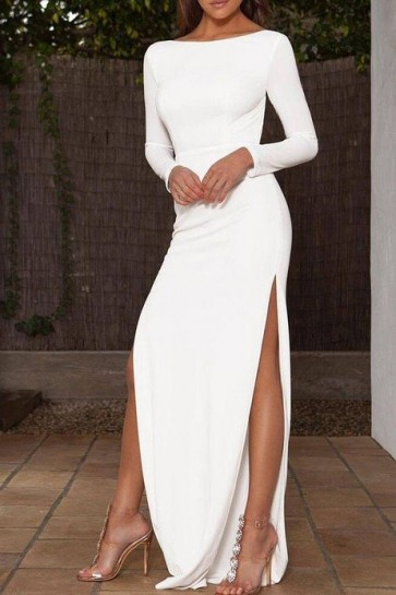 White Long Sheath High Slit Prom Dress With Long Sleeves