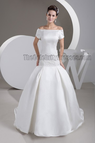 Elegant Off-the-Shoulder Beaded Sweep/ Brush Train Wedding Dress