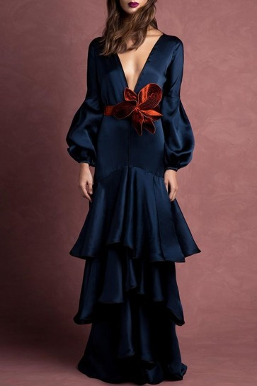Elegant Dark Navy V-neck Lantern Sleeves Layered Hem Dress