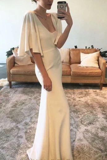 Elegant White Mermaid Prom Dress
