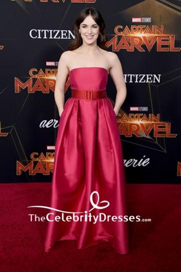 Elizabeth Henstridge Strapless Evening Dress Premiere of 'Captain Marvel'