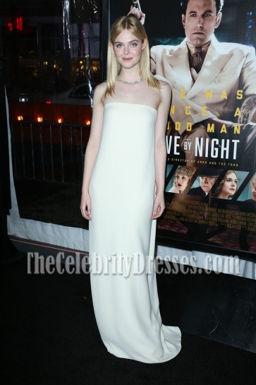 Elle Fanning Ivory Strapless Column prom gown For less LA Premiere Of 'Live by Night'