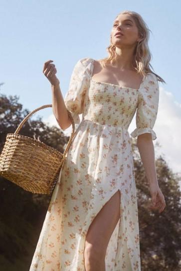 Elsa Hosk Floral Casual Dress With Half Sleeves