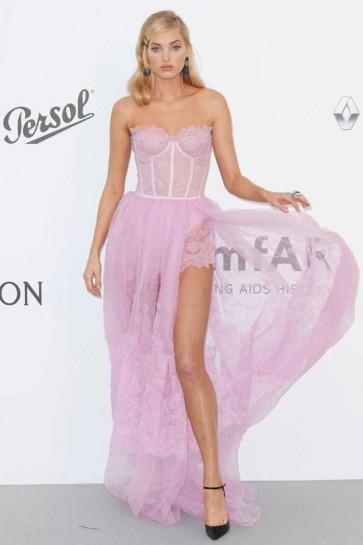 Elsa Hosk Pink Strapless High Split Lace Prom Dress