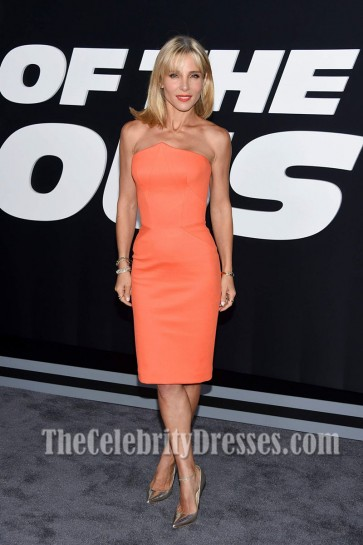 Elsa Pataky Orange Strapless Dress the Premiere of 'The Fate of the Furious'