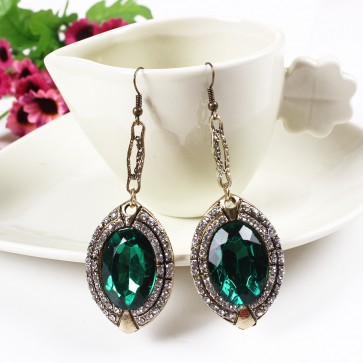 Emerald Green Rhinestone Gem Drop Earrings for Women TCDE0056