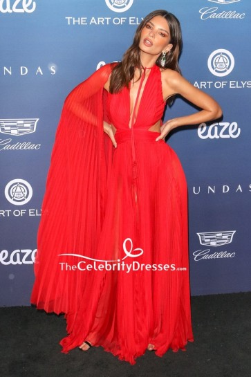 Emily Ratajkowski Red Cut Out Pleated Evening Dress Art of Elysium celebration