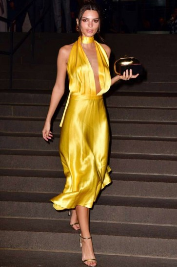 Emily Ratajkowski Yellow V-neck Asymmetrical Hemline Prom Dress