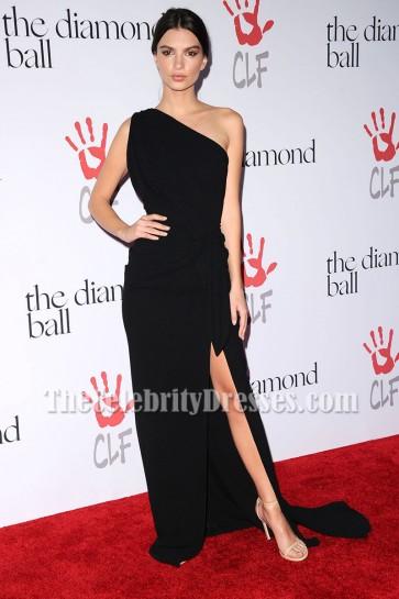 Emily Ratajkowski Black One-shoulder Evening Prom Gown Diamond Ball 2015