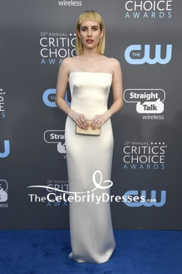Greta Gerwig Ivory V-neck Ruffle Long Dress 2018 Critics' Choice Awards. Red Carpet