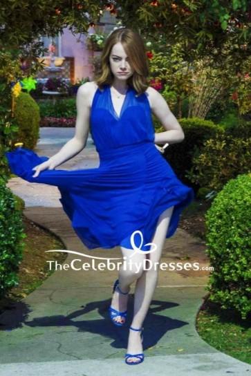 Emma Stone Royal Blue V-neck Short Dress In Movie La La Land