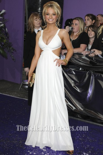Emma Rigby Sexy White Cut Out Prom Dress 2009 British Soap Awards