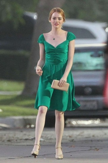 Emma Stone Green Cap Sleeves Short Dress In Movie La La Land Mia