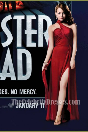 Emma Stone Red Evening Prom Dress Gangster Squad