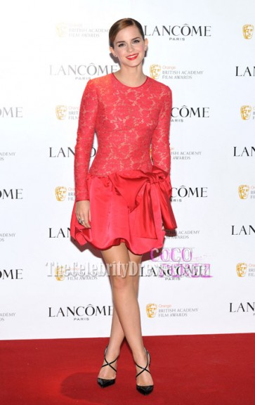 Emma Watson Chic Red Party Dress Lancôme Pre-BAFTA Party Red Carpet