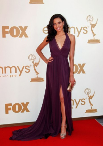 2011 Emmy Awards Red Carpet Jurnee Smollett Deep V-Neck Prom Gown Formal Evening Dress