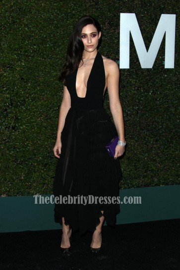 Emmy Rossum Black Party Dress Claiborne Swanson Frank's Young Hollywood Book Launch