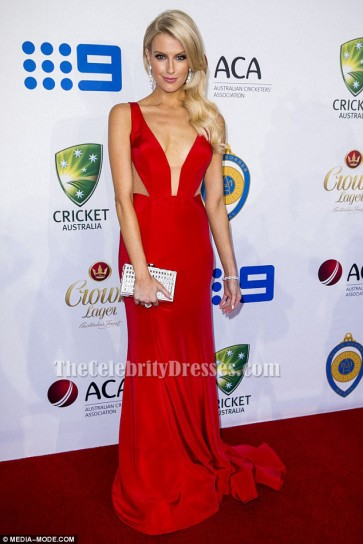 Erin Holland Red Sexy Evening Dress Prom Gown 2015 Allan Border Medal TCD6451