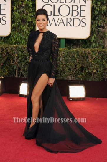 Eva Longoria Black Prom Dress 2013 Golden Globe Awards Red Carpet