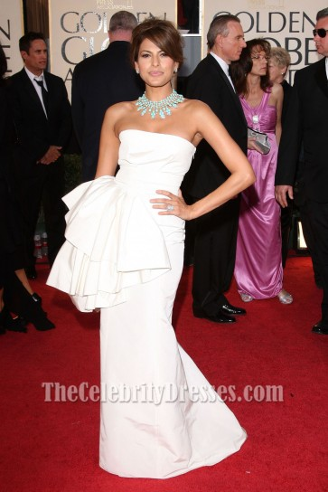 Eva Mendes Strapless White Prom Dress 66th Annual Golden Globe Awards