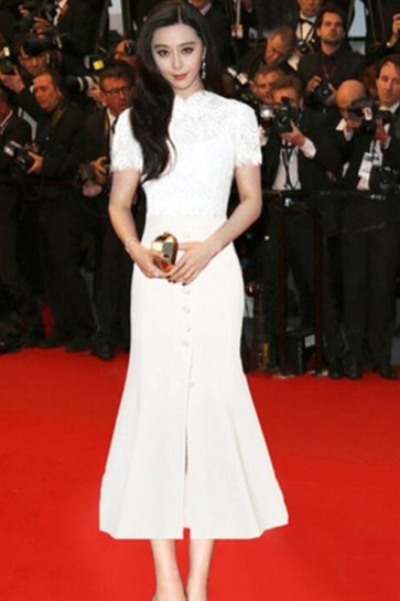Fan Bingbing White Mermaid Pary Dress