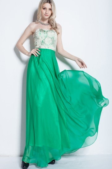 Floor Length Lace And Chiffon Strapless Prom Gown Evening Dresses