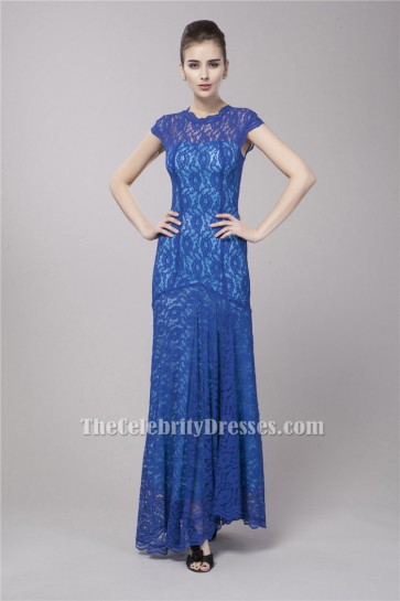 Celebrity Inspired Floor Length Royal Blue Lace Formal Dress Evening Gowns TCDBF053