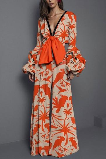 Floral V-neck Trumpet Sleeves Jumpsuit