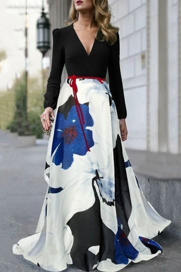 Elegant V-neck Floral Long Sleeves Dress