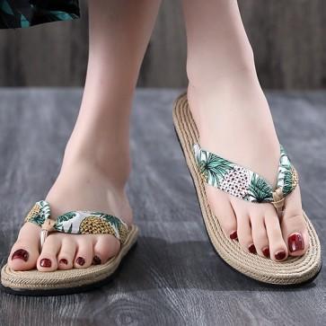 Flower Print Telly Thong Flip Flops