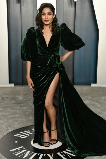 Freida Pinto Dark Green Velvet Wrap Formal Dress 2020 Vanity Fair Oscar Party