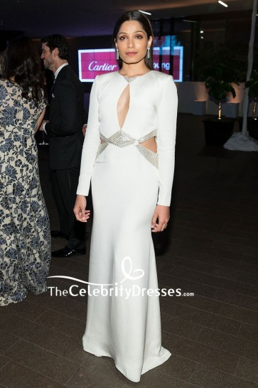 Freida Pinto White Cut Out Formal Dress With Sleeves 2018 Mid-winter Gala