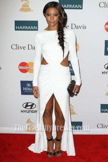 Gabrielle Union White Cut Out Prom Dress 54th Clive Davis Pre-Grammy Party