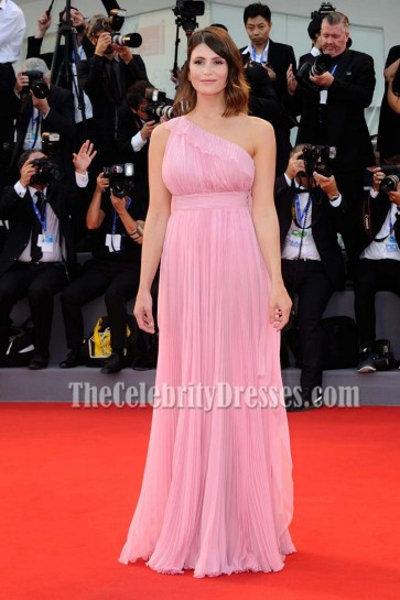 Gemma Arterton Candy One Shoulder Chiffon Backless Evening Prom Gown 73rd Venice Film Festival 7