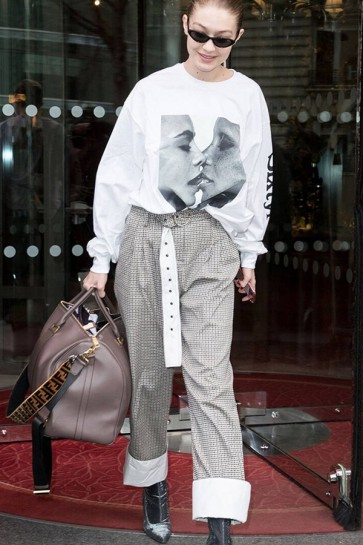 Gigi Hadid High Waist Houndstooth Casual Pants Wide Leg Trousers