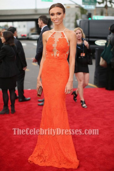 Giuliana Rancic Orange Lace Formal Dress 2014 Grammy Red Carpet
