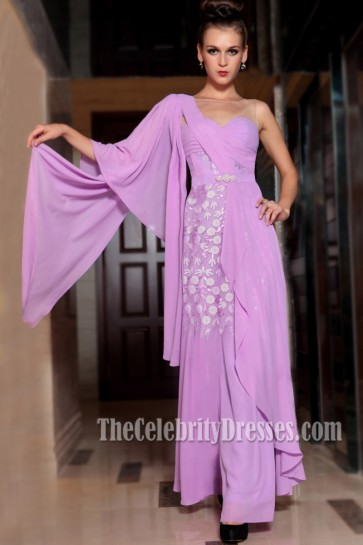 Glamorous One Sleeve Floor Length Prom Gown Evening Dress