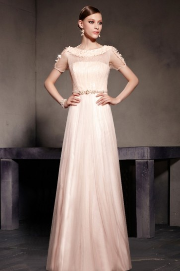 Gorgeous Pearl Pink Floor Length Evening Prom Dresses