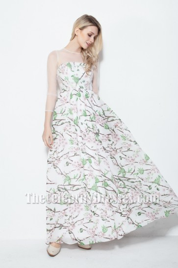 Gorgeous Print Long Sleeve Prom Dress Evening Gowns