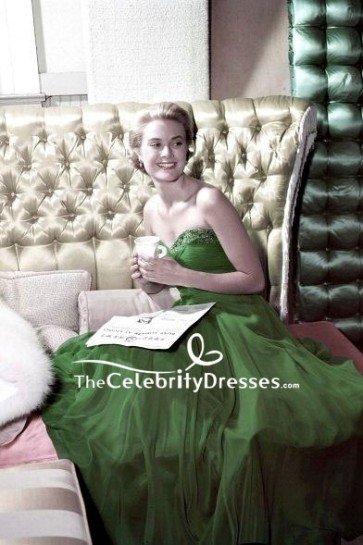 Grace Kelly Green Strapless Chiffon Prom Dress 1954 St. Patrick's Day