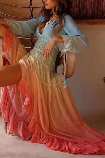 Gradient High Low Ruffled Dress