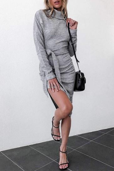 Gray Lace-up Slit Dress