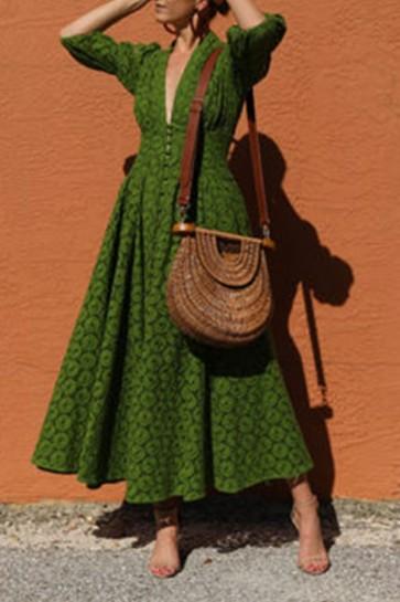 Green V-neck Lace Swing Dress