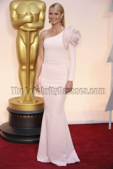 Gwyneth Paltrow 2015 Oscars Light Pink One Sleeve Red Carpet Dress