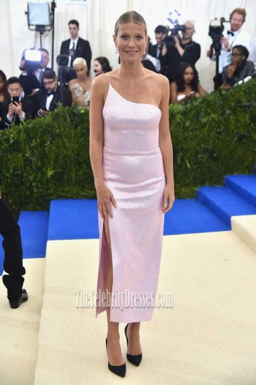 Gwyneth Paltrow Pink One-shoulder High Slit Sequins Dress 2017 Met Gala